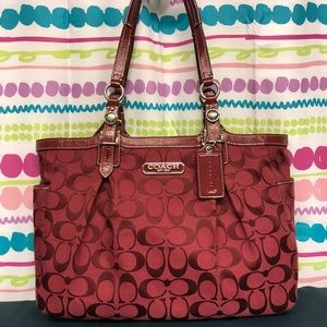 COACH SIGNATURE JACQUARD EAST WEST GALLERY TOTE